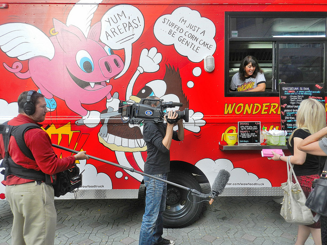 Wendy and the WOW Truck serving one of their many fans!