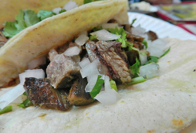 Lengua, or cow tongue..it's actually really tasty, and if you didn't know...