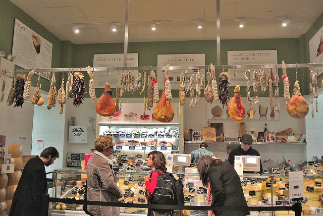 La Piazza - cured meats and cheeses. Any place with animal legs hanging overhead is OK by me!