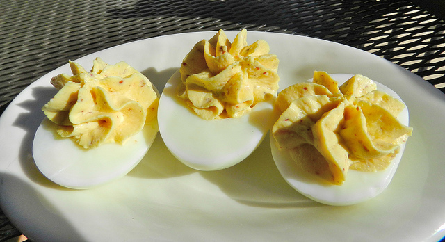 Deviled eggs with bourbon smoked paprika