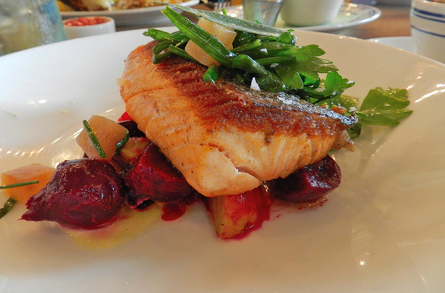The salmon and beets were amazing; the skin is left on and crisped to perfection; think peanut brittle crunch!