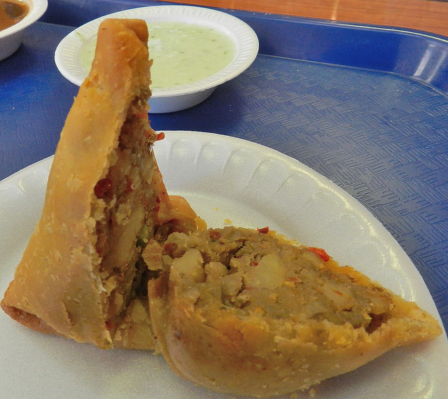Veggie samosas - $2 a piece and they're easy to share