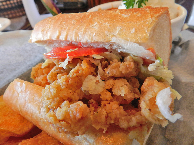 Crawfish tail po-boy