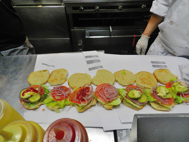 Burger assembly line...that's mine on the left!!!