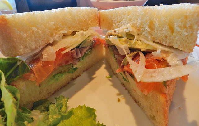 Cured salmon sandwich