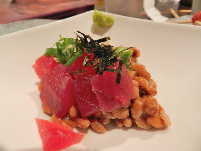 Tuna w/ sticky fresh soy beans