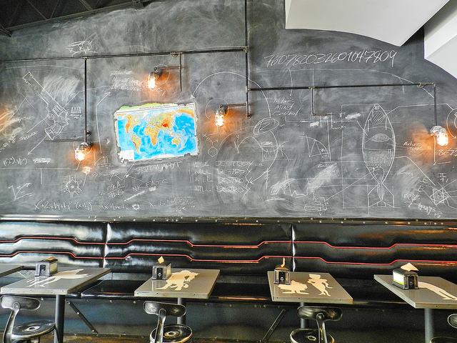 Interior shot - love the chalkboard walls