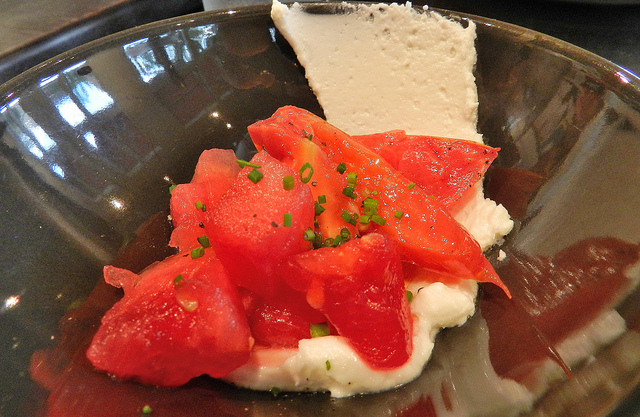 Tomato and watermelon salad w/ fresh ricotta