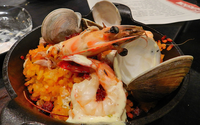 Off the menu paella - we saw this come by and begged to get two plates - crispy rice and succulent shrimp!