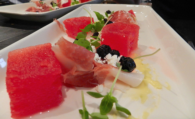 Watermelon, prosciutto, lime curd and queso fresco - amazing!