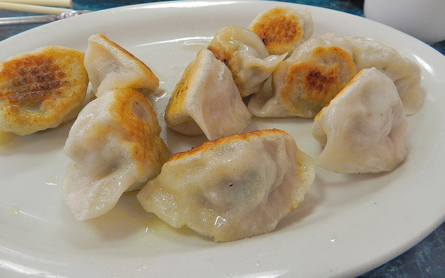 Pork and scallion dumplings