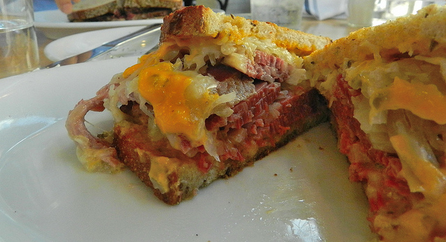 Reuben - check out the thick cut corned beef and melty cheese!!!