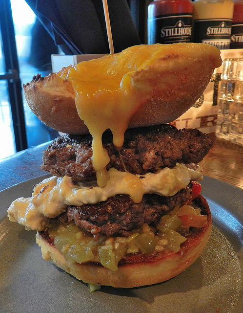 Steak & Eggs burger..try eating that without ruining your pants.