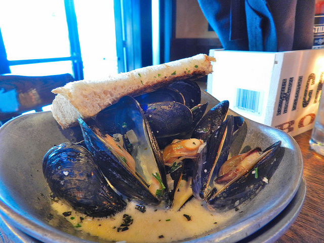 Mussels cooked in a moonshine broth