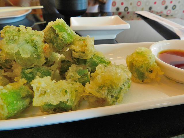 "Tempura okra (""Popcorn"") I could eat an entire plate of these"