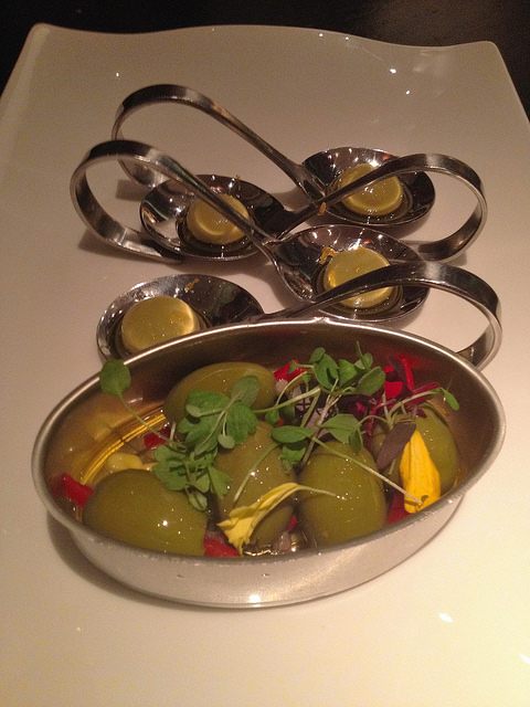 Liquid olives and olives stuffed w/ anchovy and piquillo pepper