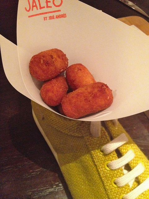 Chicken fritters in a whimsical presentation
