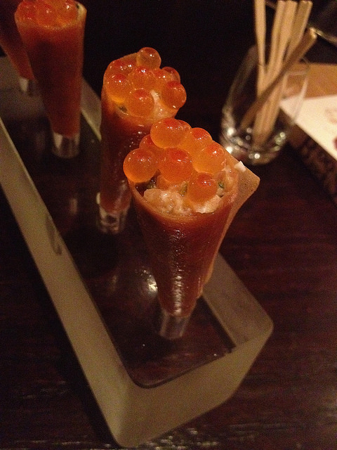 Salmon cones w/ tartar and salmon roe
