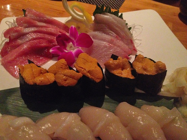 Toro, uni and scallop - my sushi trifecta!