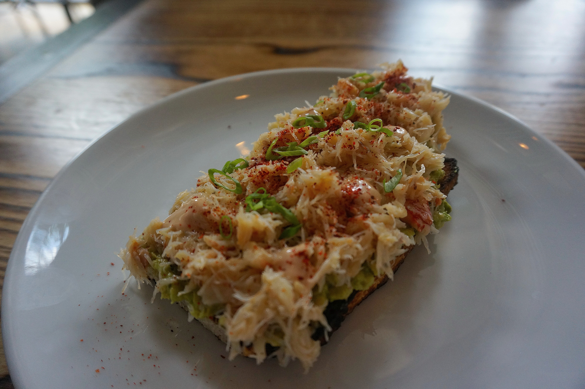 Rock crab on levain bread; I had to order another one of these on both visits!