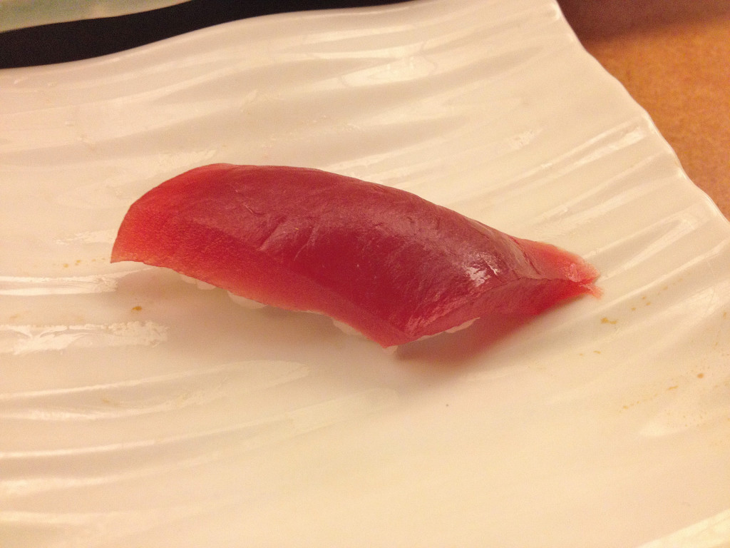 Maguro or basic lean tuna; this is usually the best piece you get in a basic sushi lunch