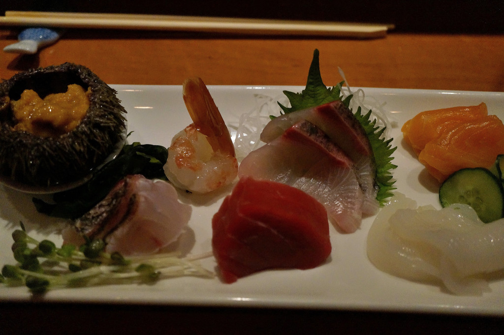 Assorted sashimi - the bottom right is squid that was ridiculously creamy and firm at the same time...mind blowing.