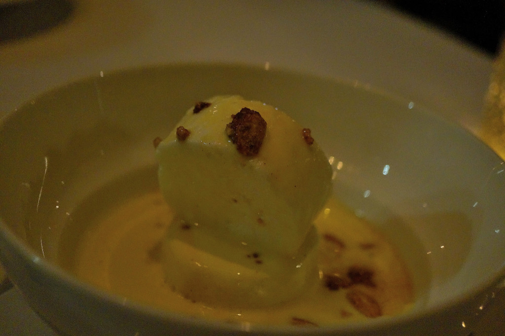 Vanilla ice cream, sunchoke custard
