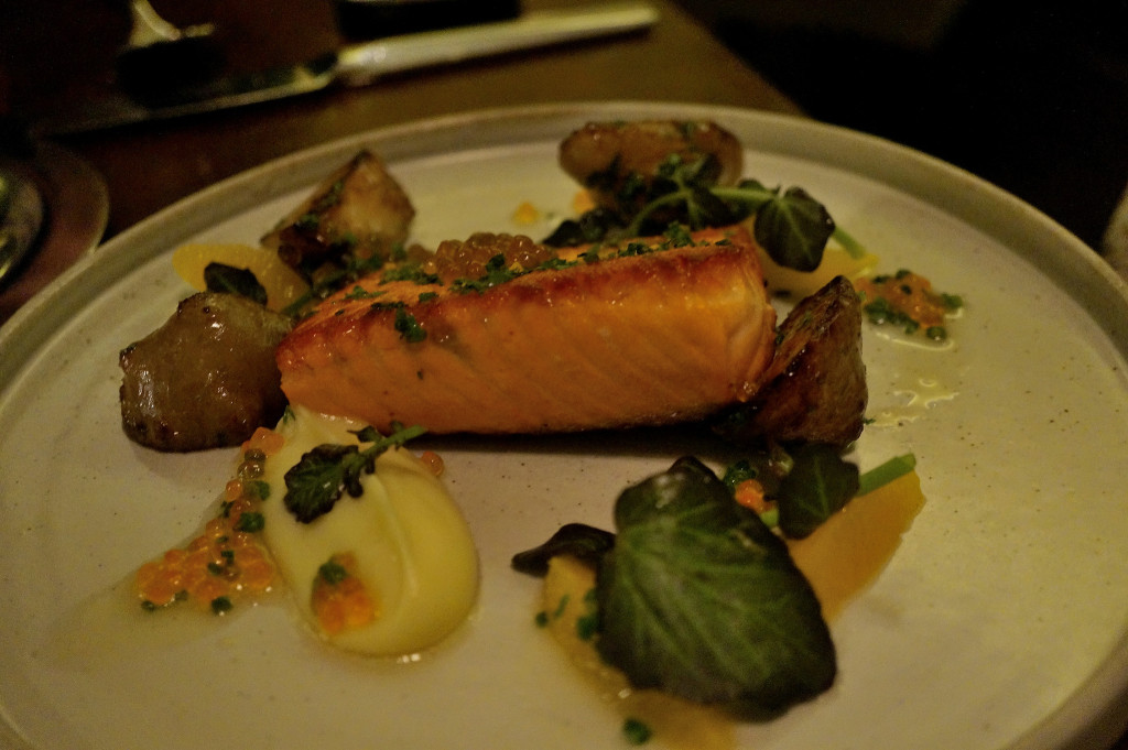 Ora king salmon w/ oasted sunchoke, orange, watercress, maple
