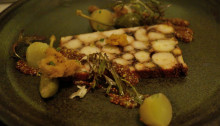 "Octopus ""pastrami"" w/ braised ham hock, pommery mustard, new potatoes"