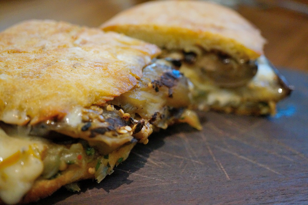Eggplant melt w/ sweet and spicy peppers, vidalia onions, fontina cheese