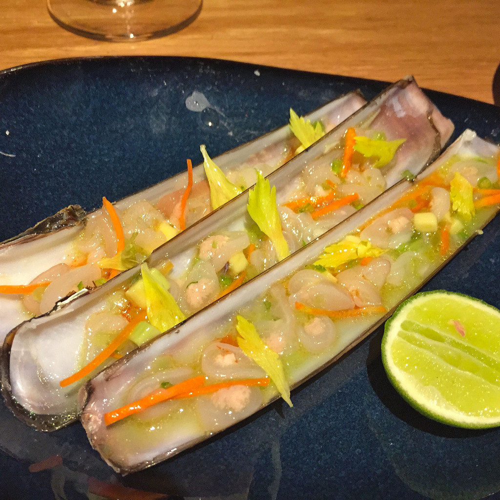Razor clams, celery salsa, crystal hot sauce