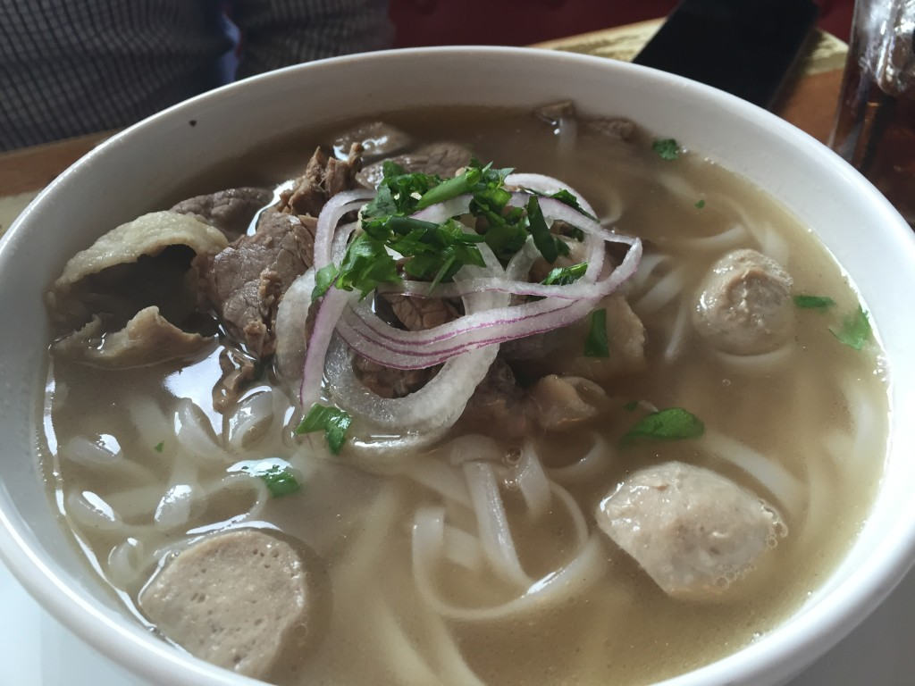 Pho - ha noi broth, vermicelli herbs, sprouts, jalapeno, lime flank, brisket, and meatball